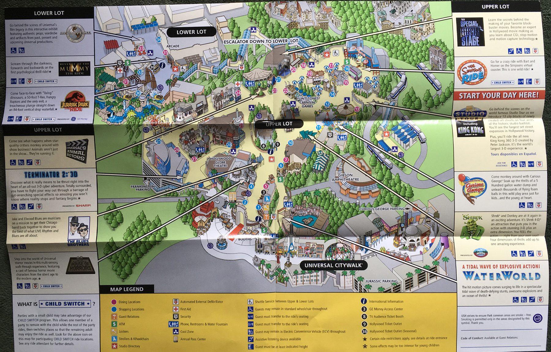 2010 Universal Studios Hollywood Map