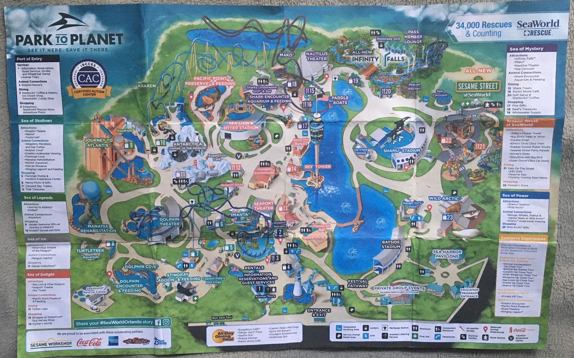 2019 SeaWorld Orlando map image