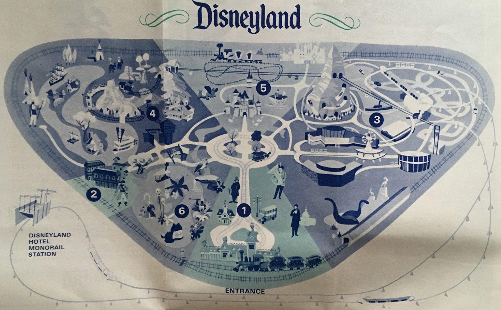 1968 disneyland map