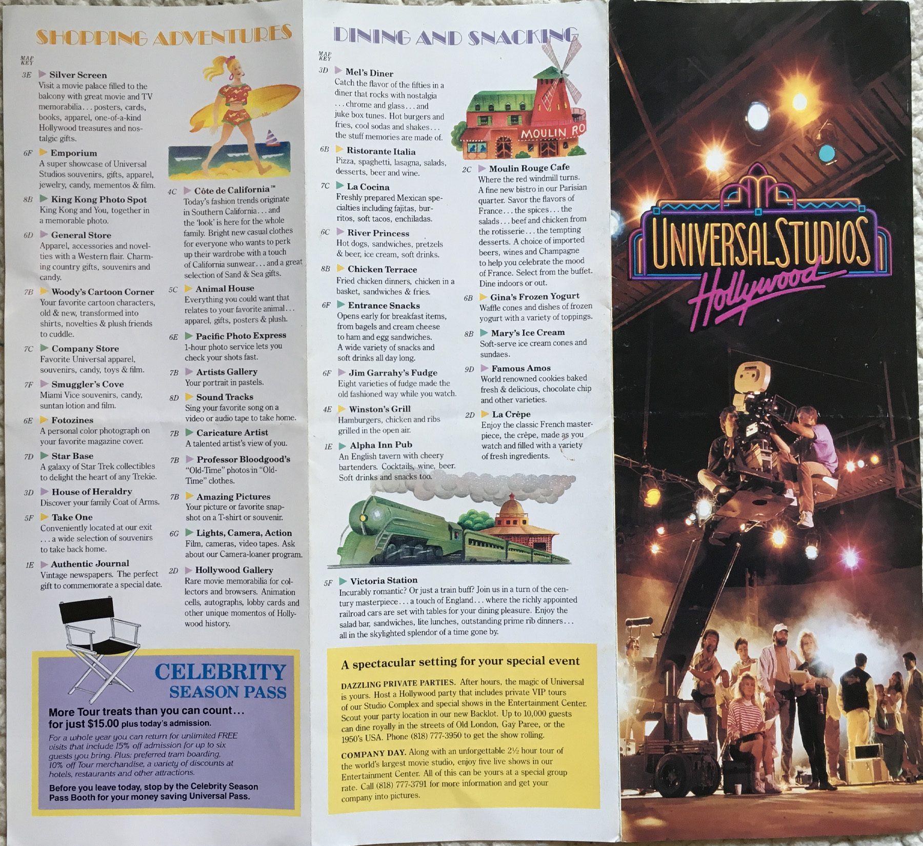 1990 universal studios map back