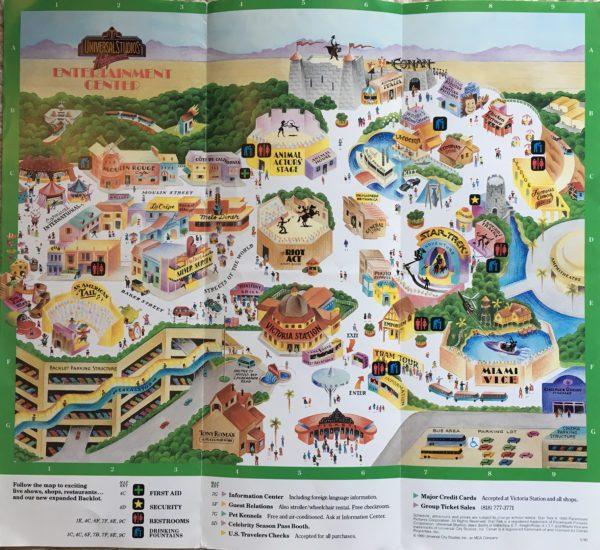 1990 universal studios map front
