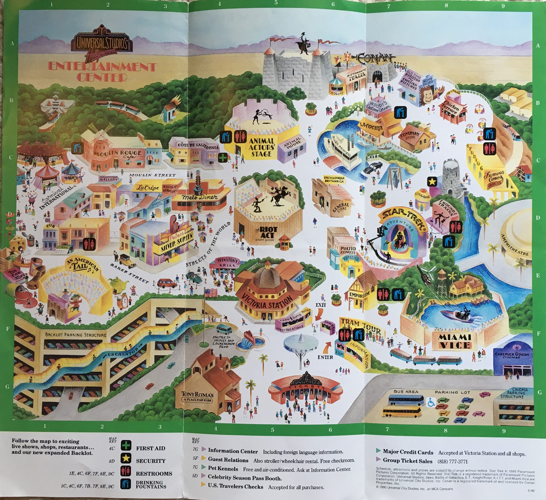 1990 universal studios map front