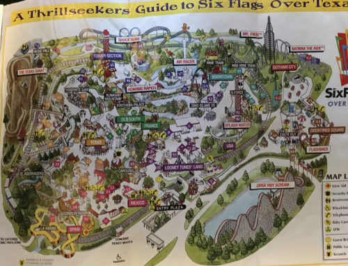 1999 Six flags Over Texas Park Map and Guide