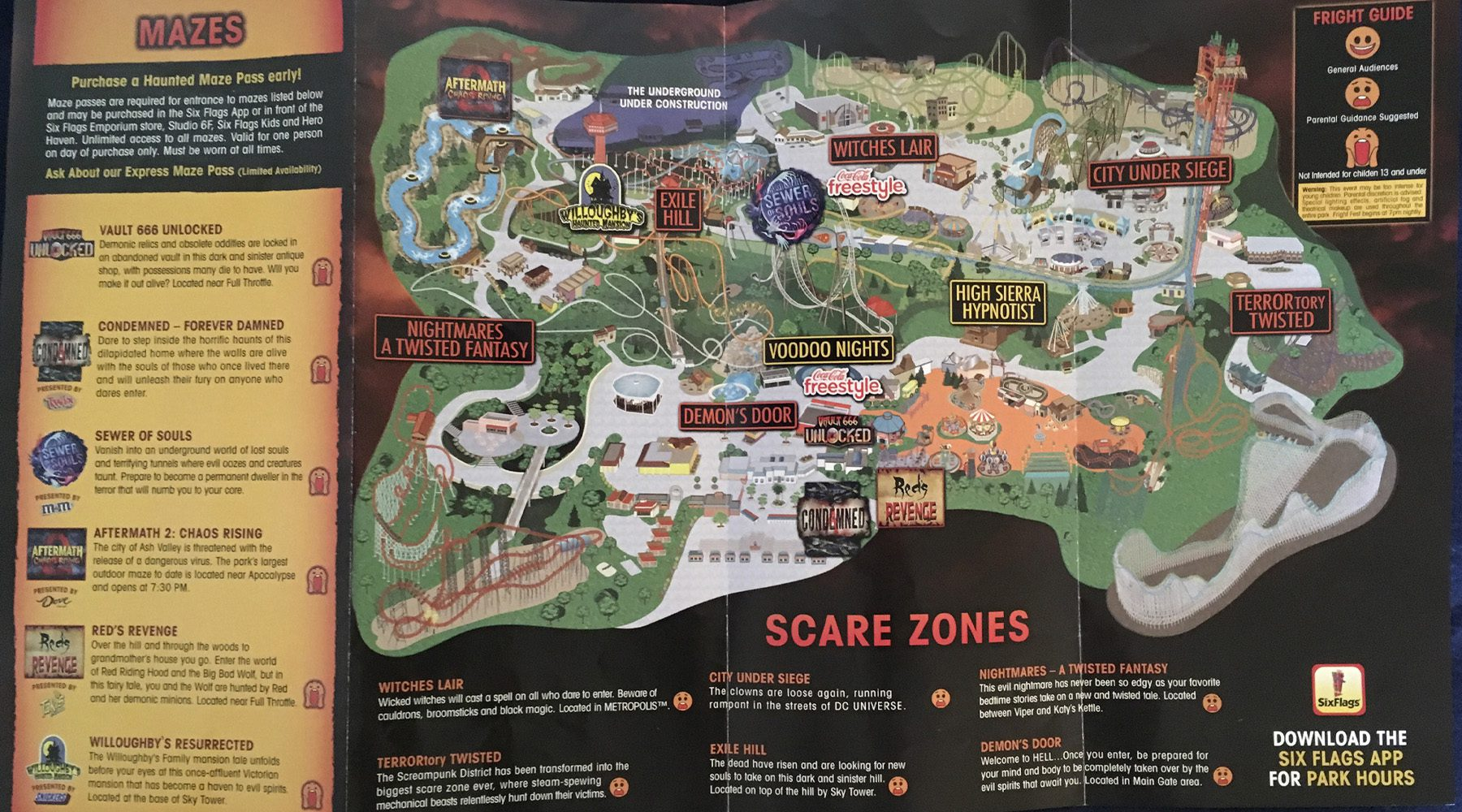 2019 SiX Flags Fright Fest Map