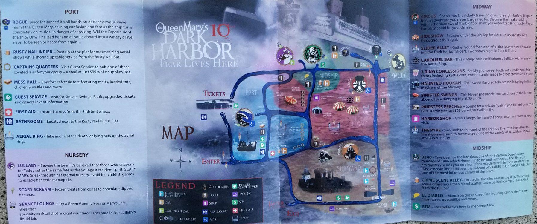 2019 The Queen Marys Dark Harbor Map 2