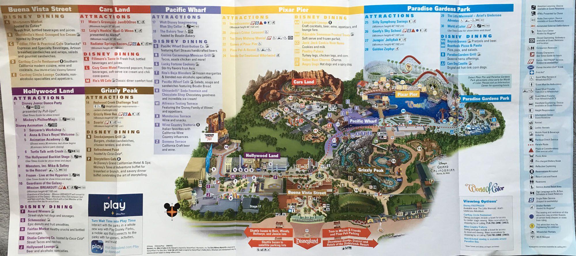2019 Halloween Time Disney California Adventure Park Map