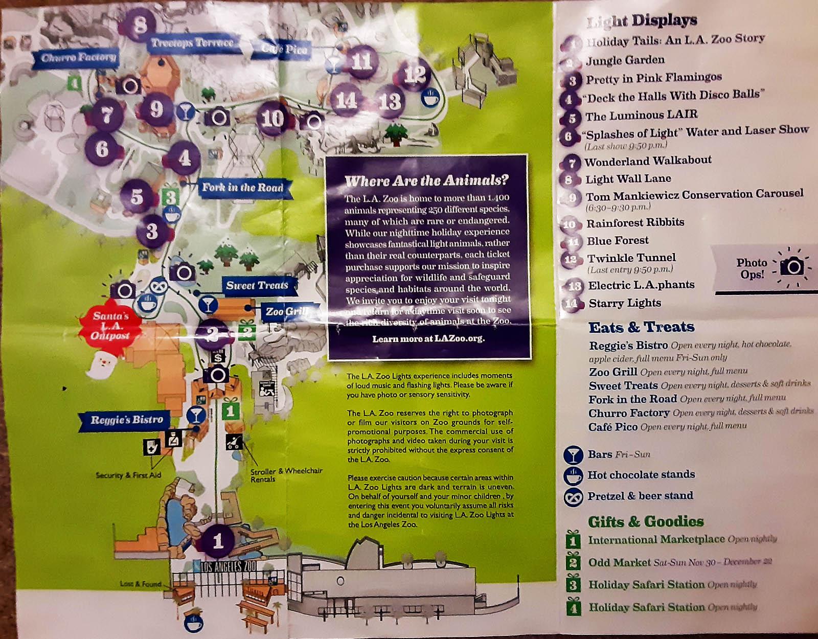 2019 LA zoo lights map