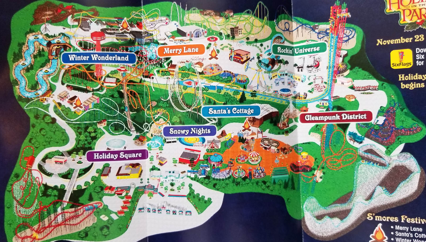 2019 Six Flags Los Angeles Holiday map