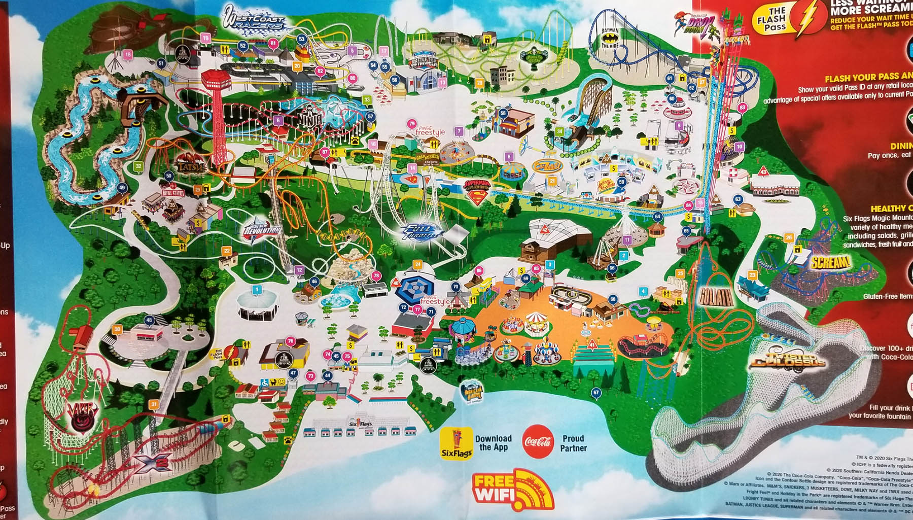 2020 Six Flags Magic Mountain map