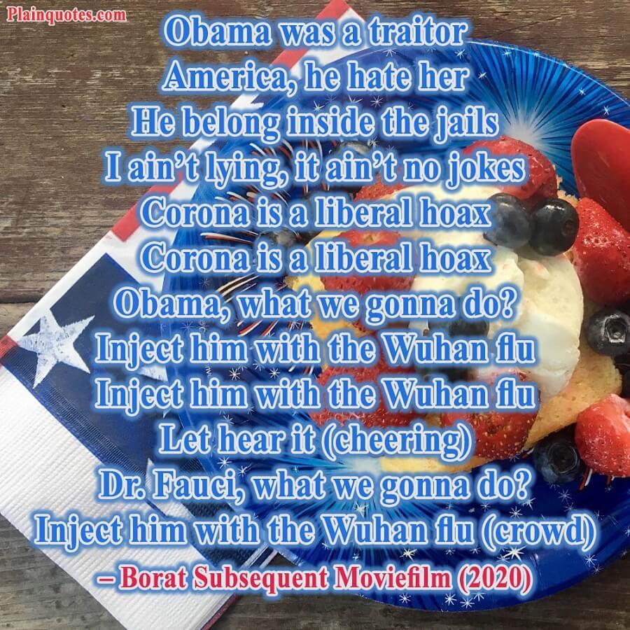 obama was a traitor borat 2020 movie