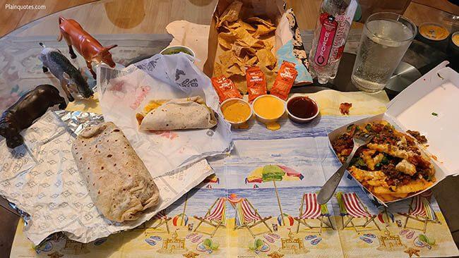 del taco BBQ chicken burrito taco and fries